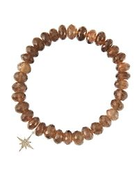 Sydney Evan | Gray 8Mm Faceted Smoky Quartz Beaded Bracelet With 14K Gold/Diamond Small Starburst Charm (Made To Order) | Lyst