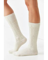 Urban Outfitters - White Chunky Patterned Knee-high Sock - Lyst