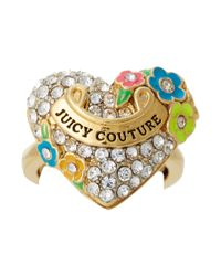 Juicy Couture - Metallic Pave Heart and Flower Ring - Lyst