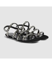 Gucci | Black Mallory Crystal Suede Sandal | Lyst