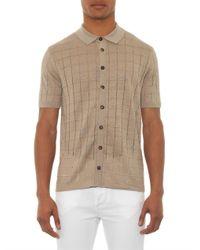 Façonnable   Natural Square-Knit Linen Polo Shirt for Men   Lyst