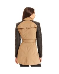 W118 by Walter Baker - Natural Longsleeve Quilted Fauxleather Trench - Lyst