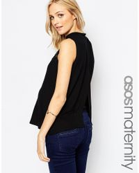 ASOS | Black Top With High Neck And Lace Panels | Lyst