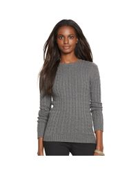 Ralph Lauren | Gray Cable-knit Cotton Sweater | Lyst