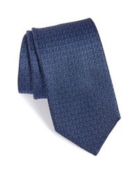 Saint Laurent | Blue Logo Print Silk Tie for Men | Lyst