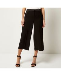 River Island - Black Satin Stripe Culottes - Lyst