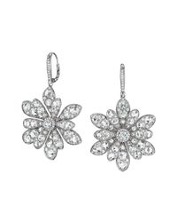 Maria Canale For Forevermark | Metallic 18k White Gold Round And Rose-cut Diamond Flower Drop Earrings | Lyst