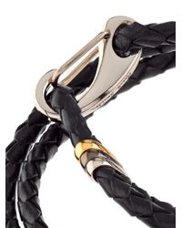 Paul Smith - Black-Leather Wrap Bracelet for Men - Lyst