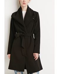 Forever 21 - Black Contemporary Belted Shawl Collar Coat You've Been Added To The Waitlist - Lyst