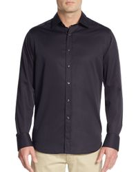 Saks Fifth Avenue | Black Relaxed-fit Solid Cotton Sportshirt for Men | Lyst