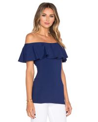 Susana Monaco - Blue Ruffle Off The Shoulder Top - Lyst