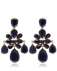 Oscar de la Renta | Blue Navy Crystal Clipon Chandelier Earrings | Lyst