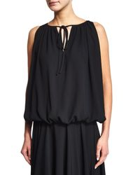 Co. - Black Sleeveless Pleated Tie-neck Top - Lyst