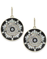 Carolee | Gold-tone Crystal Black Circle Drop Earrings | Lyst