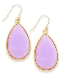 kate spade new york | Purple Gold-tone White Epoxy Teardrop Earrings | Lyst