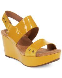 Clarks | Natural Artisan Women's Caslynn Dez Platform Wedge Sandals | Lyst