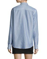 Isabel Marant - Blue Pinstriped Cotton-blend Button-down Blouse - Lyst