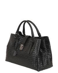 Bottega Veneta - Black Roma Classic Intreccio Nappa Leather Bag - Lyst