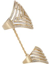 Fallon - Metallic Gold Vermeil Pave Labyrinth Double Ring - Lyst