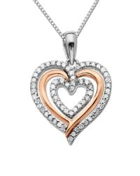 Lord & Taylor | Metallic Sterling Silver Necklace With 14kt. Rose Gold Diamond Heart Pendant | Lyst
