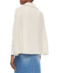 See By Chloé - White Ribbed Sweater Cape - Lyst