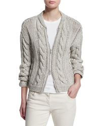 Brunello Cucinelli - Gray Cotton Cable-knit Zip-front Cardigan - Lyst