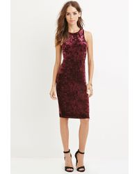 Forever 21 | Red Crushed Velvet Bodycon Dress | Lyst