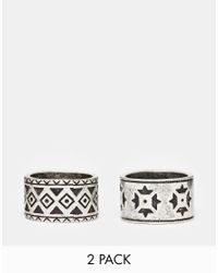 ASOS - Metallic Aztec Ring Pack In Silver for Men - Lyst