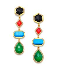 Mija - Multicolor Jade, Black Onyx, Turquoise & White Sapphire Geometric Drop Earrings - Lyst