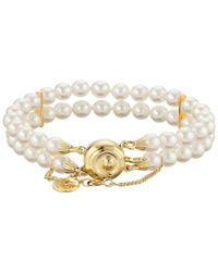 Majorica - Metallic Double Row Pearl Bracelet - Lyst