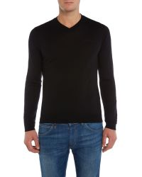 Versace Jeans | Black V Neck Basic Logo Jumper for Men | Lyst