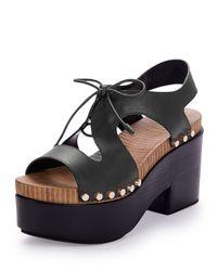 Balenciaga - Black Leather Lace-front Platform Sandal - Lyst