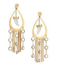 House of Lavande | Metallic Nihiwatu Mother-of-pearl & Crystal Double-sided Fringe Teardrop Earrings | Lyst