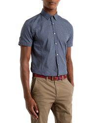Ted Baker | Blue Paletwo Pattern Short Sleeve Shirt for Men | Lyst