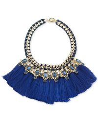 Carolee | Silver-tone Blue Tassel Statement Necklace | Lyst