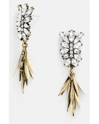 BaubleBar | Metallic 'fringe Fir' Drop Earrings - Clear/ Antique Gold | Lyst