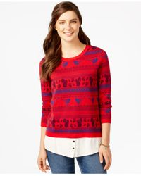G.H. Bass & Co. | Printed Layered-look Sweater | Lyst