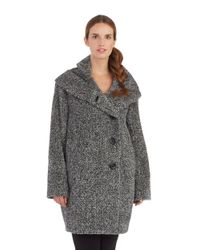 Sofia Cashmere | Black Funnel Neck Walker Coat | Lyst