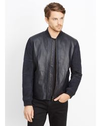 VINCE | Blue Quilted Leather and Suede Jacket  for Men | Lyst