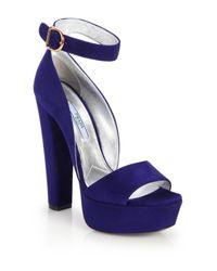Prada - Blue Suede Platform Sandals - Lyst
