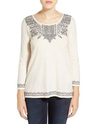 Lucky Brand - Gray Placed Embroidery Tee - Lyst