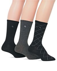 Ralph Lauren | Black 3-Pack Overplaid Trouser Socks | Lyst