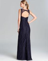 Amsale - Blue Gown Sleeveless Illusion Neckline Lace - Lyst