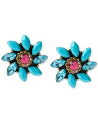 Betsey Johnson | Blue Brass-tone Faceted Bead Flower Stud Earrings | Lyst