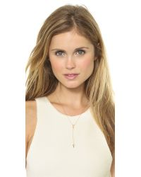EF Collection | Metallic Diamond Double Triangle Lariat Necklace Rose Goldclear | Lyst