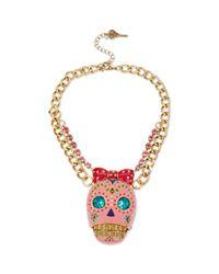 Betsey Johnson | Metallic Goldtone Sugar Skull Frontal Necklace | Lyst
