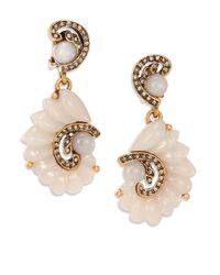 Oscar de la Renta | Pink Swirl Clip-on Drop Earrings | Lyst