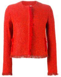 Akris | Red Fringed Tweed Jacket  | Lyst