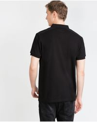Zara | Black Embroidered Two-tone Polo Shirt for Men | Lyst