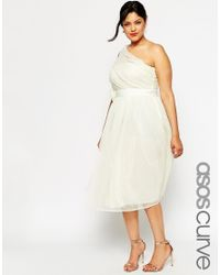 ASOS | Natural Curve Wedding Mesh Midi Dress With One Shoulder & Corsage | Lyst